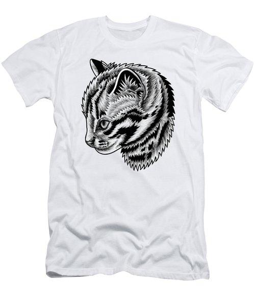 Leopard Cat Kitten - Ink Illustration Men's T-Shirt (Athletic Fit)