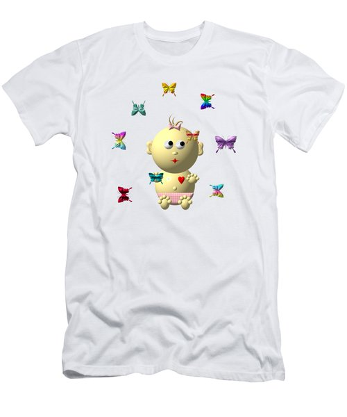 Light Skinned Baby Girl With 9 Butterflies Men's T-Shirt (Athletic Fit)