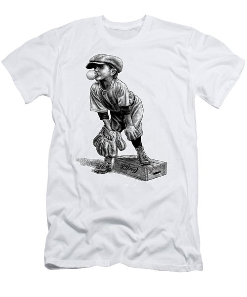 Men's T-Shirt (Athletic Fit) featuring the drawing Little Leaguer by Clint Hansen