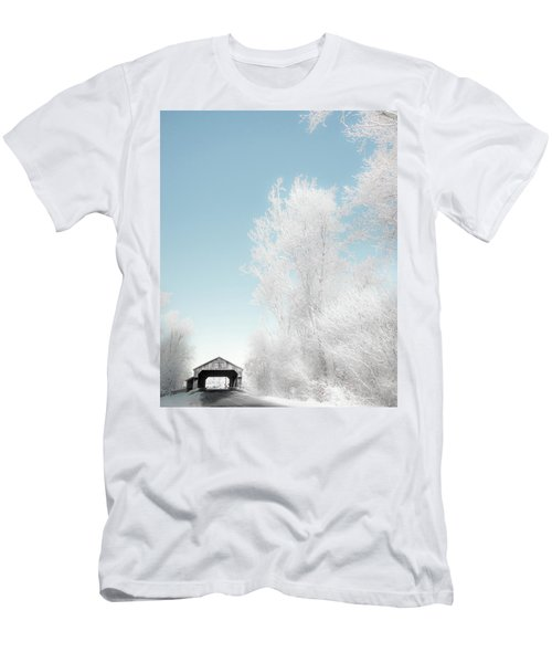 Men's T-Shirt (Athletic Fit) featuring the photograph Lockport Covered Bridge 2 by Michael Arend