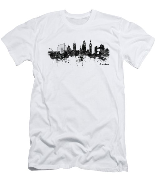 London Black And White Watercolor Skyline Silhouette Men's T-Shirt (Athletic Fit)