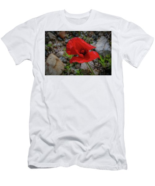 Lone Red Flower Men's T-Shirt (Athletic Fit)