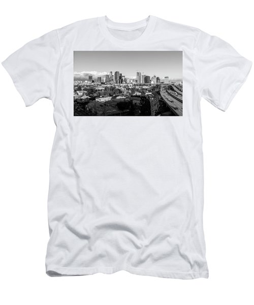 Los Angeles Skyline Looking East 2.9.19 - Black And White Men's T-Shirt (Athletic Fit)