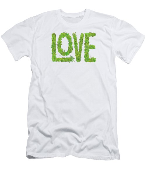 Love Succulent White Background Men's T-Shirt (Athletic Fit)