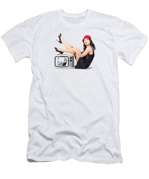 Lovely Asian Pinup Girl Posing On Vintage Tv Set Men's T-Shirt (Athletic Fit)
