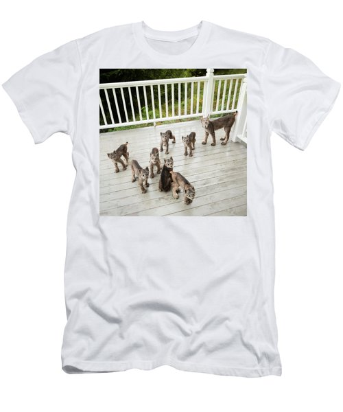 Men's T-Shirt (Athletic Fit) featuring the photograph Lynx Family Portrait by Tim Newton