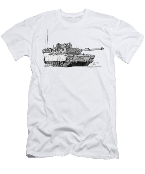 Men's T-Shirt (Athletic Fit) featuring the drawing M1a1 Battalion Commander Tank by Betsy Hackett