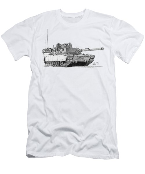 Men's T-Shirt (Athletic Fit) featuring the drawing M1a1 D Company Commander Tank by Betsy Hackett