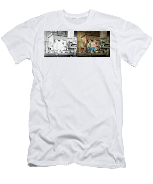 Men's T-Shirt (Athletic Fit) featuring the photograph Machinist - Spending Time With Grandpa 1921 - Side By Side by Mike Savad