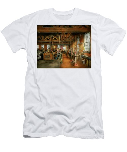 Men's T-Shirt (Athletic Fit) featuring the photograph Machinist - The Glazier Stove Company 1900 by Mike Savad
