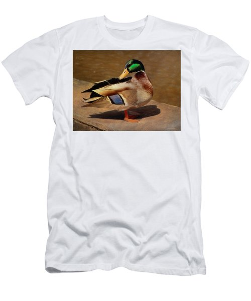 Men's T-Shirt (Athletic Fit) featuring the painting Male Mallard - Painted by Ericamaxine Price