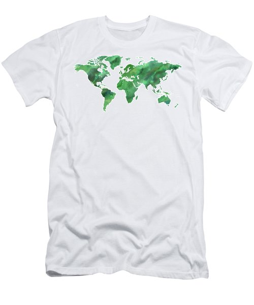 Map Of The World In Green Watercolor Men's T-Shirt (Athletic Fit)