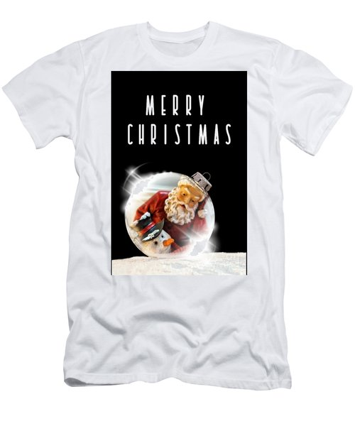 Men's T-Shirt (Athletic Fit) featuring the mixed media Merry Christmas Santa And Snow by Rachel Hannah