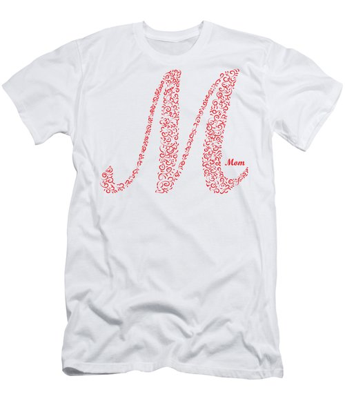 Mom Floral Red White Men's T-Shirt (Athletic Fit)