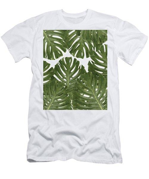 Monstera Leaf Pattern - Green - Tropical, Botanical Design - Modern, Minimal Decor Men's T-Shirt (Athletic Fit)