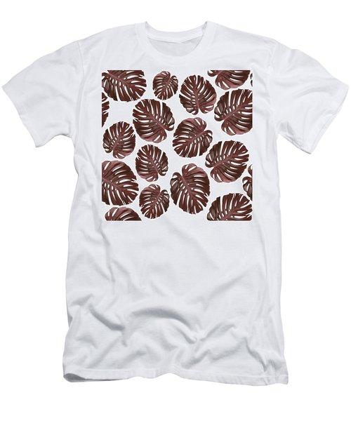 Monstera Leaf Pattern - Tropical Leaf Pattern - Brown, Red - Tropical, Botanical - Modern, Minimal Men's T-Shirt (Athletic Fit)