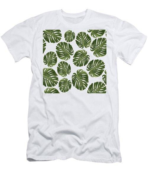 Monstera Leaf Pattern - Tropical Leaf Pattern - Green - Tropical, Botanical - Modern, Minimal - 1 Men's T-Shirt (Athletic Fit)