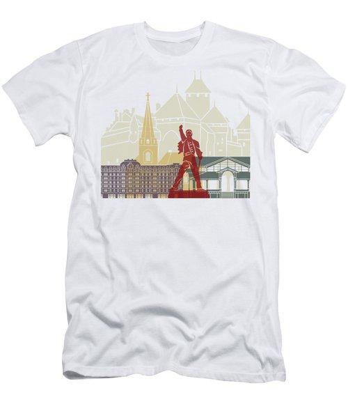 Montreux Skyline Poster Men's T-Shirt (Athletic Fit)