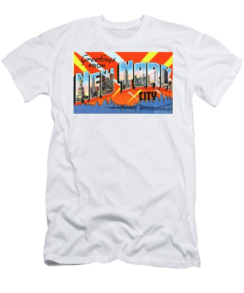 Men's T-Shirt (Athletic Fit) featuring the photograph New York City Greetings - Version 1 by Mark Miller