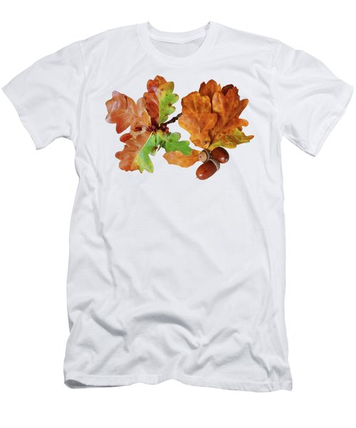 Oak Leaves And Acorns On White Men's T-Shirt (Athletic Fit)