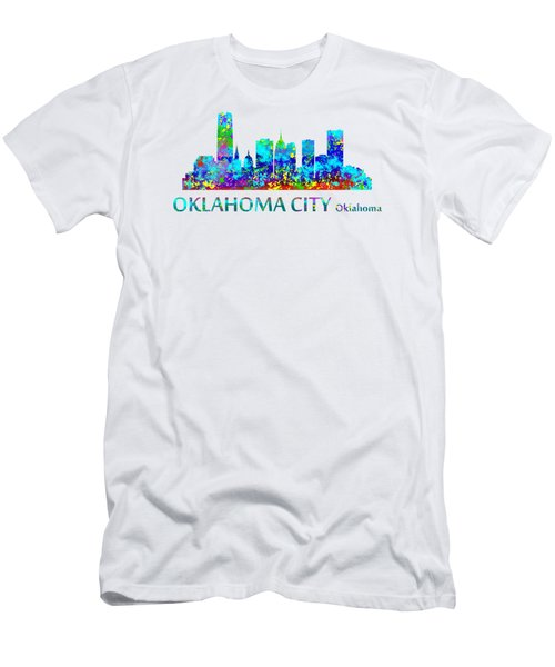 Men's T-Shirt (Athletic Fit) featuring the digital art Oklahoma City Watercolor by David Millenheft