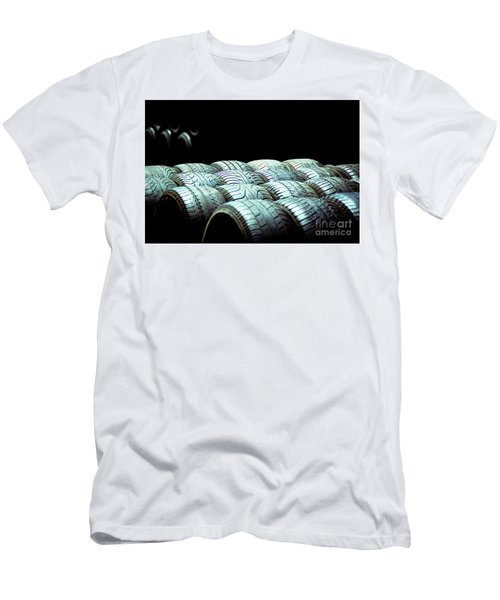 Old Tires And Racing Wheels Stacked In The Sun Men's T-Shirt (Athletic Fit)