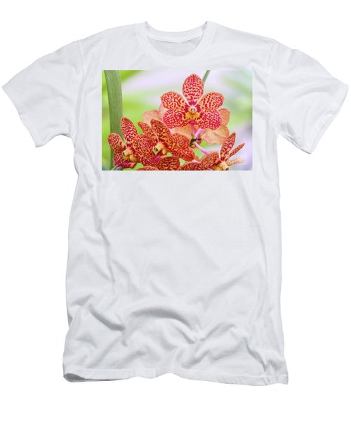 Orange Spotted Orchids Men's T-Shirt (Athletic Fit)
