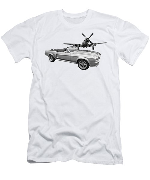 P51 Meets Eleanor In Black And White Men's T-Shirt (Athletic Fit)