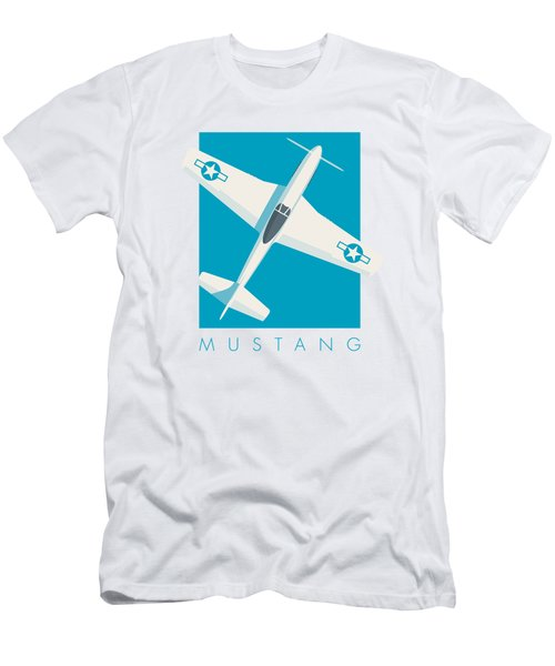 P51 Mustang Fighter Aircraft - Cyan Men's T-Shirt (Athletic Fit)