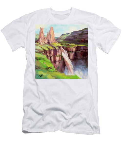 Men's T-Shirt (Athletic Fit) featuring the painting Palouse Falls Rush by Steve Henderson