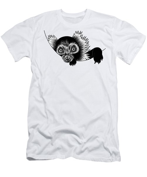 Peeking Lemur - Ink Illustration Men's T-Shirt (Athletic Fit)