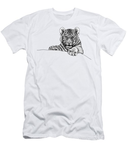 Peeking Tiger Cub Men's T-Shirt (Athletic Fit)