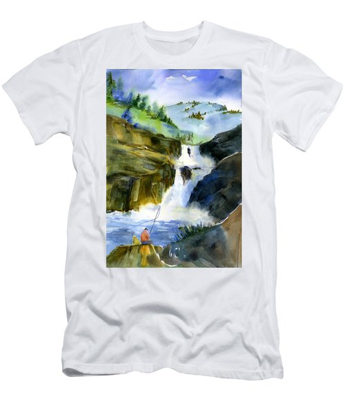 Petroglyph Falls Fishing Men's T-Shirt (Athletic Fit)