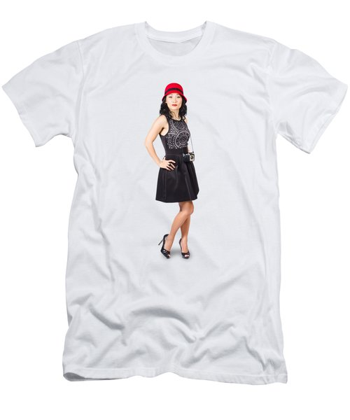 Pin Up Lady With Retro Film Camera Men's T-Shirt (Athletic Fit)