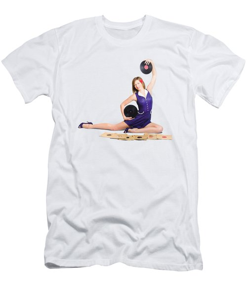 Pin-up Woman Balancing Sound With Record Music Men's T-Shirt (Athletic Fit)