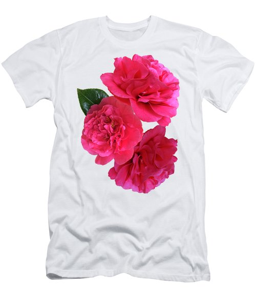 Pink Camellias On White Vertical Men's T-Shirt (Athletic Fit)