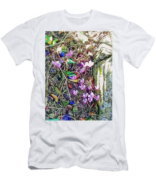 Pink Cyclamen With Fallen Damsons Men's T-Shirt (Athletic Fit)