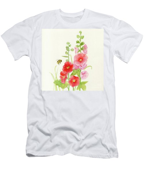 Pink Hollyhock Watercolor Men's T-Shirt (Athletic Fit)