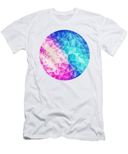 Pink Ice Blue  Abstract Polygon Crystal Cubism Low Poly Triangle Design Men's T-Shirt (Athletic Fit)