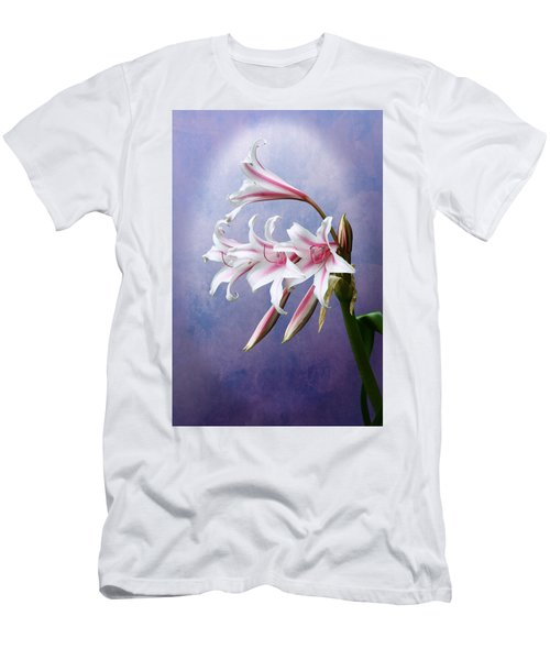 Pink Striped White Lily Flowers Men's T-Shirt (Athletic Fit)