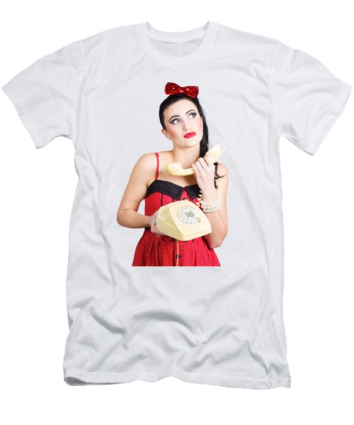 Pinup Woman Chatting On Yellow Telephone Men's T-Shirt (Athletic Fit)