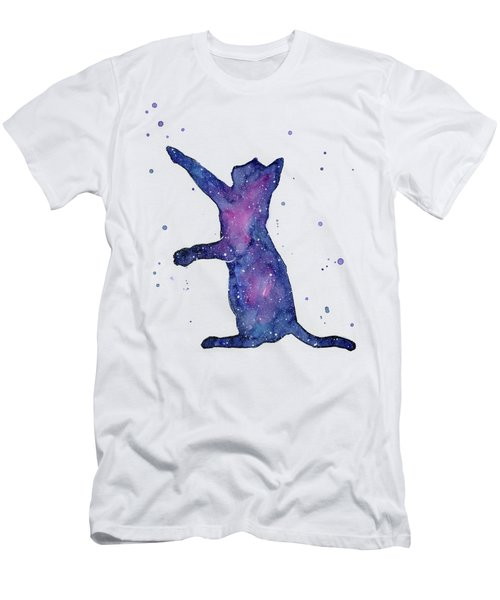 Playful Galactic Cat Men's T-Shirt (Athletic Fit)
