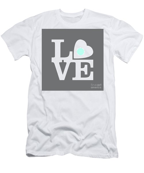 Pop Art Love In Gray Men's T-Shirt (Athletic Fit)