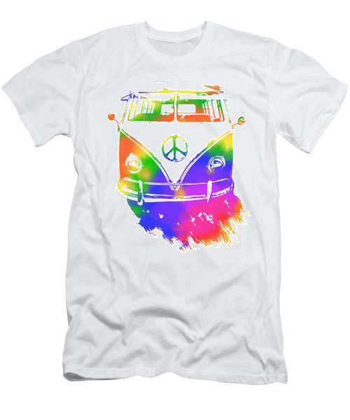 Rainbow Colored Peace Bus Men's T-Shirt (Athletic Fit)