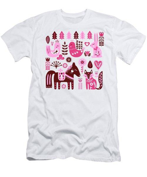 Raspberry And Cream Scandinavian Folk Art Forest Friends Men's T-Shirt (Athletic Fit)