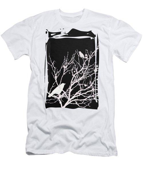 Raven - White Over Black Men's T-Shirt (Athletic Fit)