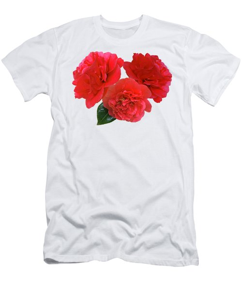 Red Camellias On White Men's T-Shirt (Athletic Fit)