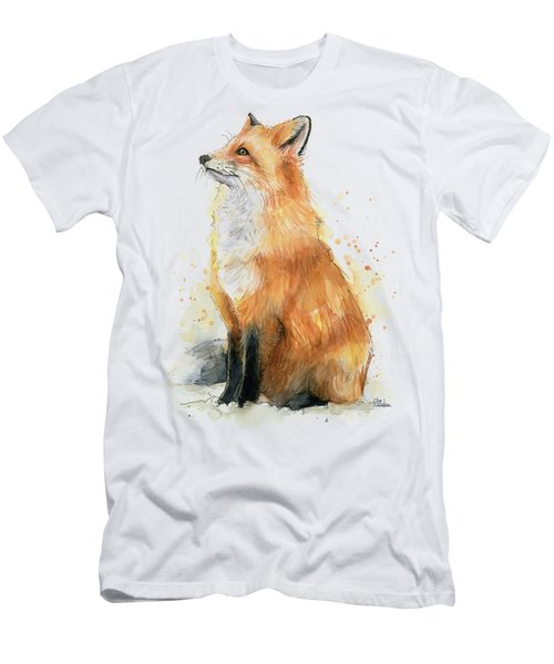 Red Fox Watercolor Pattern Men's T-Shirt (Athletic Fit)