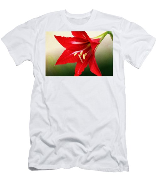 Men's T-Shirt (Athletic Fit) featuring the photograph Red Lily Flower by Debi Dalio