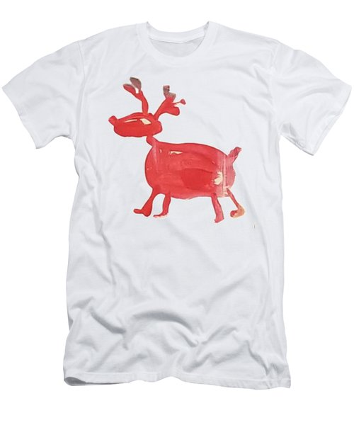Men's T-Shirt (Athletic Fit) featuring the painting Red Reindeer by Maria Langgle